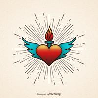 Flaming Heart With Wings Vector Illustration