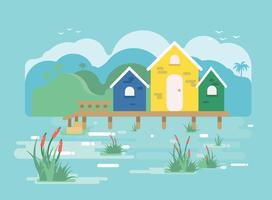 Casa en Marsh Vector