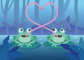 Two Frogs Make A Heart Symbol Illustration