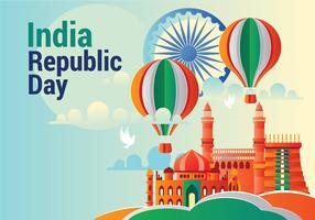 Greeting Card design on Sky Blue Background for Happy Republic Day celebration with Origami Style