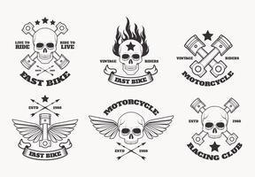 Weinlese-Motorrad-Emblem-Vektor-Sammlung