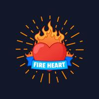 Flaming Heart Vector