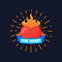 Vecteur coeur enflammé