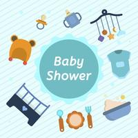 Flat Baby Shower Vector Illustration