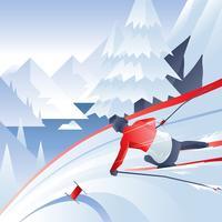 Vetor de esqui de neve de Jogos Olímpicos de inverno