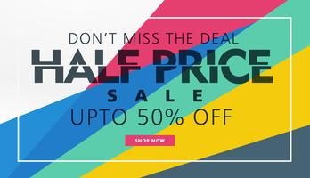 half price sale banner template creative design
