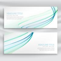 abstract wavy business banner set in blue color