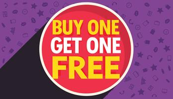 buy one get one free discount voucher vector design template