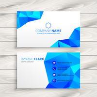 blue polygonal business card template vector design illustration