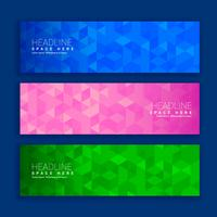 abstract geometric triangle shapes banners in three different co