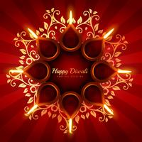 beautiful diwali greeting background with floral ornaments vecto