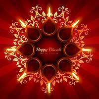 vacker diwali hälsning bakgrund med blommiga ornament vecto