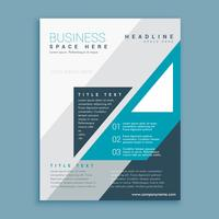 A4 business brochure design with blue grometric shapes