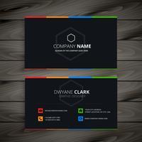 Ilustración de diseño de vector de empresa oscura tarjeta de visita