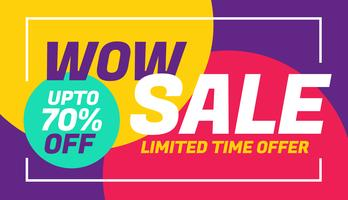 reclame te koop bannerontwerp met kleurrijke achtergrond