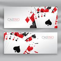 Bannières de cartes à jouer casino définir fond