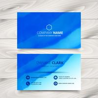blue business card template design made with watercolor