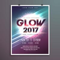 Partyflieger-Broschürenschablone des neuen Jahres 2017 mit glühendem backgro