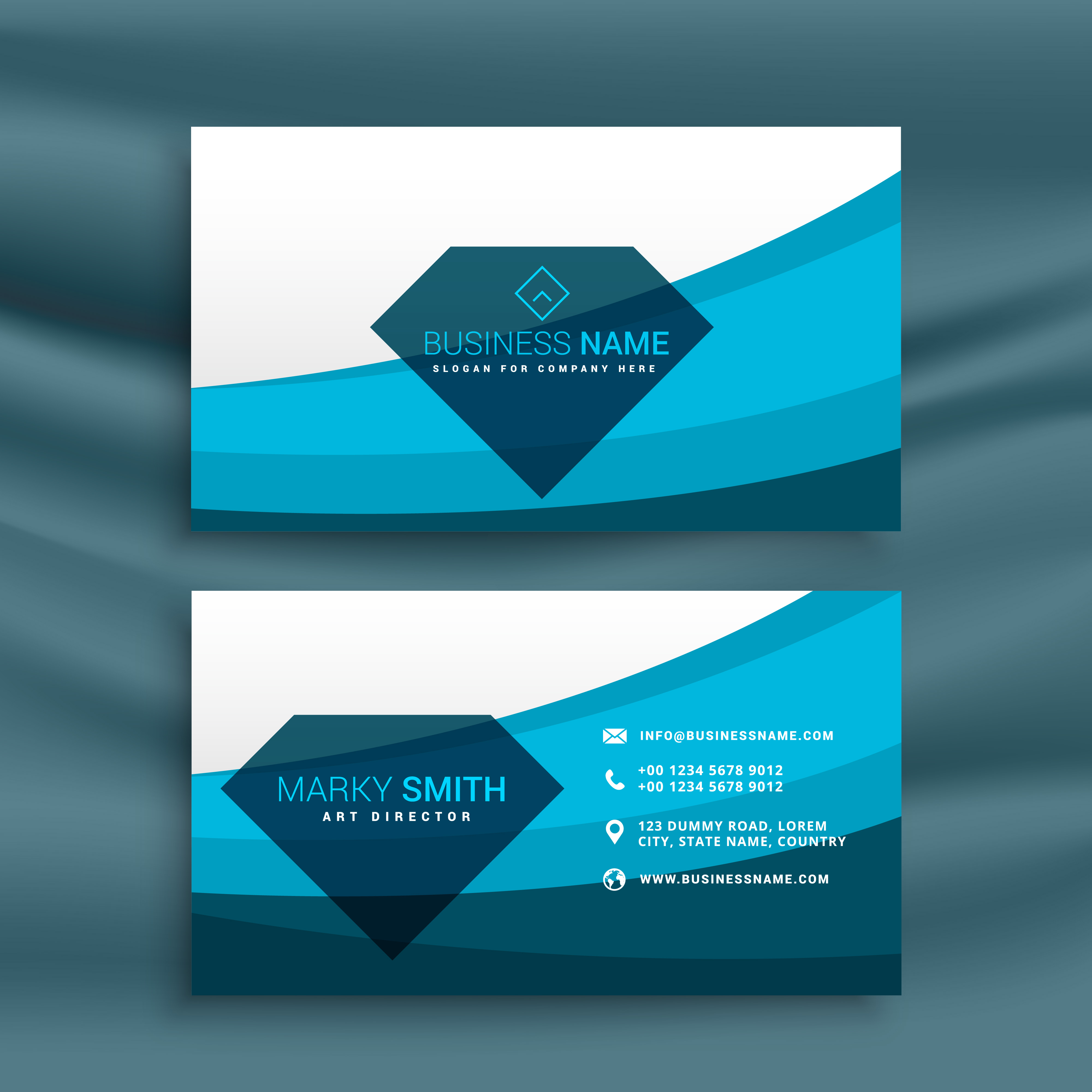 Blue wave business card template design with diamond shape blue wave business card template design with diamond shape download free vector art stock graphics images alramifo Images