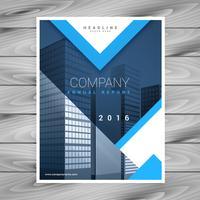 modern blauw brochure flyer ontwerp met geometrische vormen