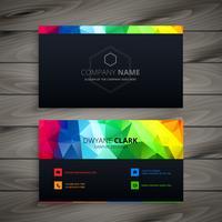 Tarjeta de visita oscura con colores abstractos. Diseño de vectores de negocios