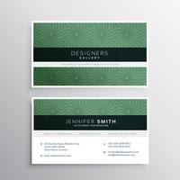 corporate business card layour with abstract green pattern