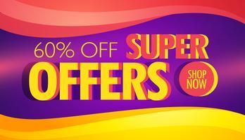 Super oferta de plantilla de banner publicitario con ondas de colores.