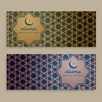 conjunto de banners de patrón islámico
