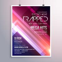 amazing shiny lights music flyer template with abstract stripes