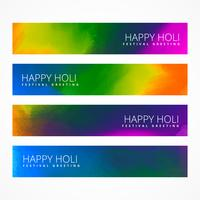 set of holi festival banners