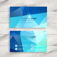 blue polygonal business card vector design art illustration
