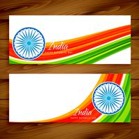 indische Flagge Banner Set Vektor-Design Illustration