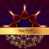 diwali heureux voeux arrière-plan de conception de vecteur