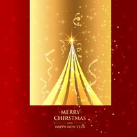 beautiful christmas tree in golden background