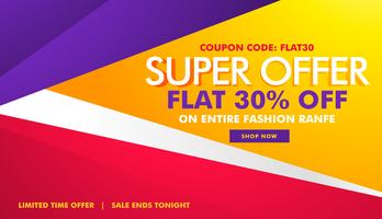 Super oferta venta y descuento banner con formas geométricas.