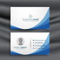 blue wave simple business card design template
