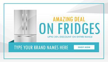 design de banner de oferta de geladeira com detalhes da oferta