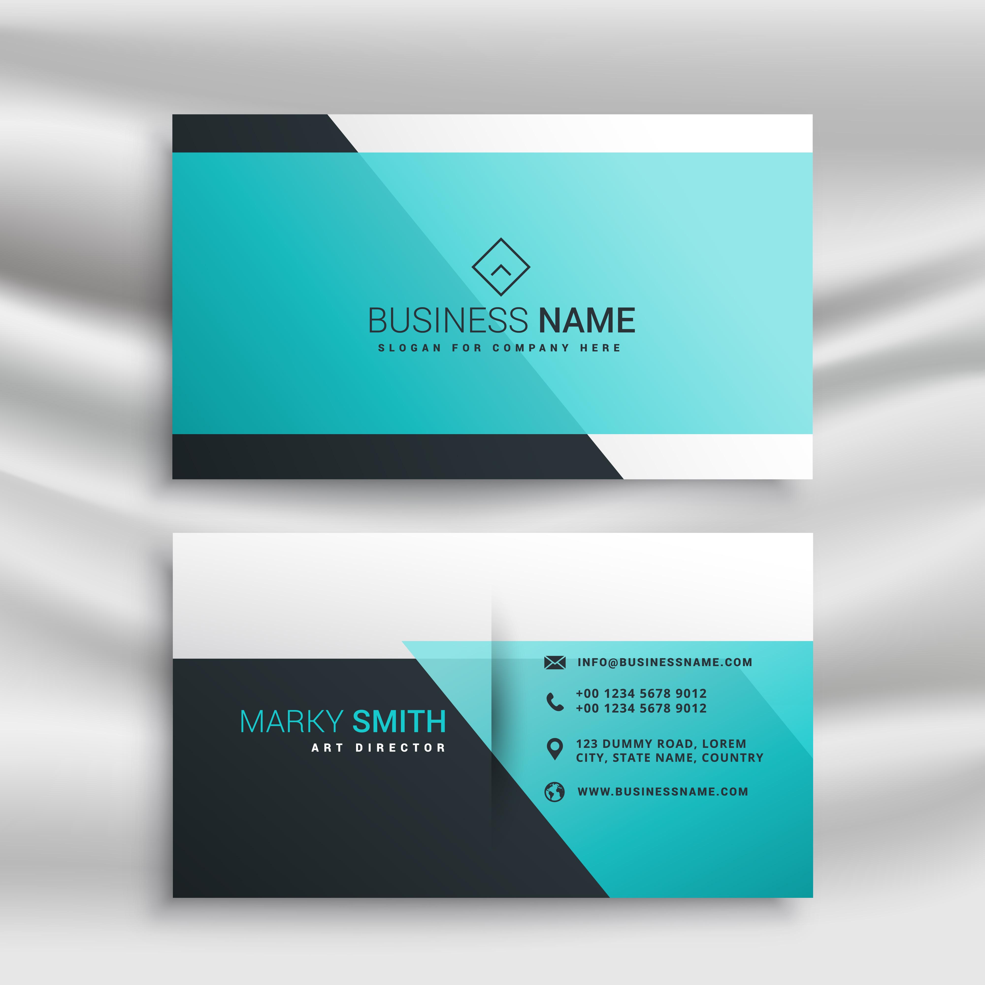 elegant business card design template with blue shapes - Download ...