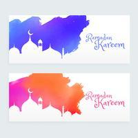 färgglada ramadan kareem islamiska festivalbanners