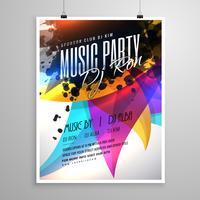 musikparty flygblad mall design med färgglada abstrakta former