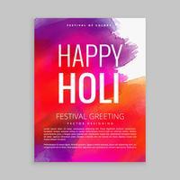 bunte holi Festival Flyer mit Farbe