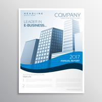 creatief bedrijfsbrochureontwerp met blauwe golf en ruimte voor jaar