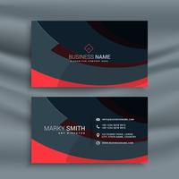 dark business card design with red wave