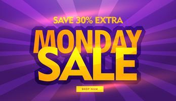 het ontwerp van de de verkoopbanner van de maandag met purpere achtergrond