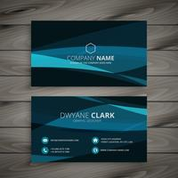 dark blue wave business card template vector design illustration