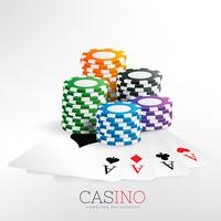 casino gaming chips with playing cards