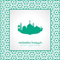 Ramadan-Festival-Gruß mit Moschee und Musterrahmen