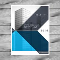 business brochure flyer design template in geometric blue shapes