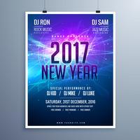 Frohes neues 2017 Flyer Layoutvorlage mit abstrakten Glühen