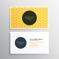 business card design in yellow pattern